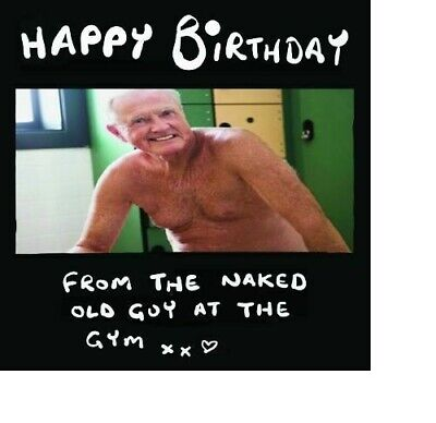 Naked male birthday card