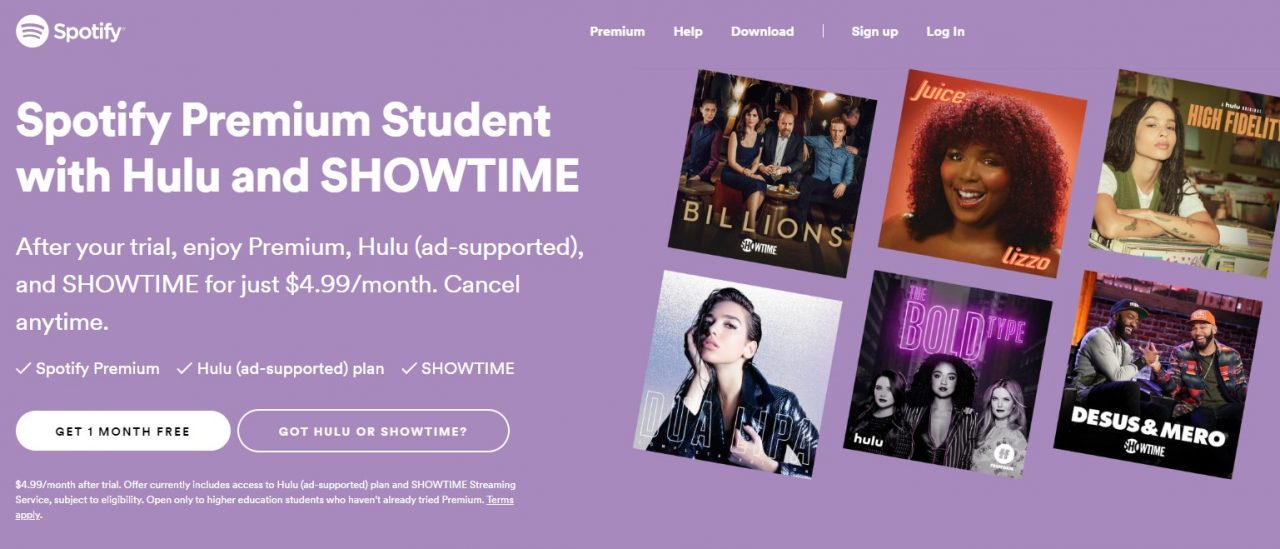 Spotify free for students